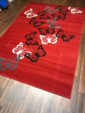 Modern Rugs Approx 6x4ft 120x170cm Woven Backed Red/Greys Butterfly rug
